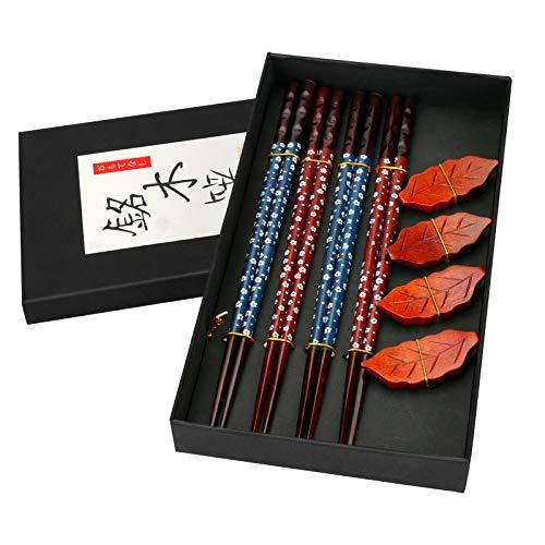 4 Paia di Bacchette, Bacchette in Legno Giapponese di Alta Qualità, Bacchette in Legno Naturale con Supporto per Bacchette, per Sushi, Pasta, Riso, 23 cm