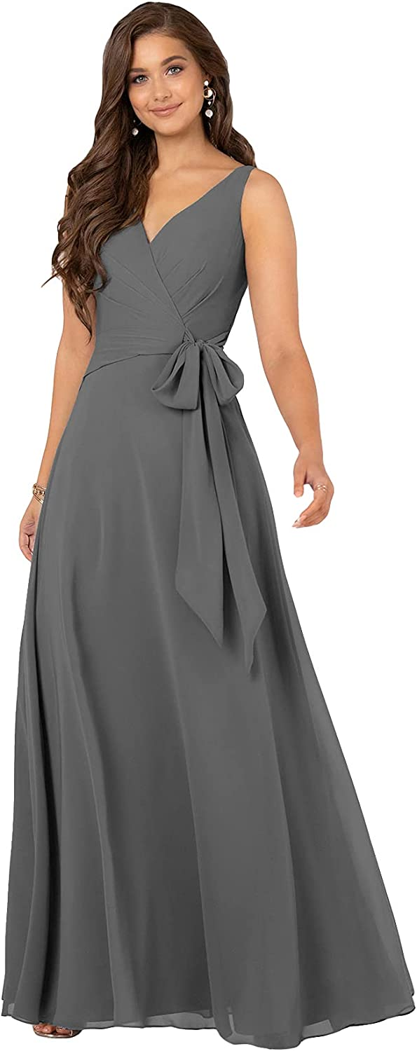 kxry Women's V Neck Chiffon Pleated Bridesmaid Dresses Long Wedding Formal Evening Gown