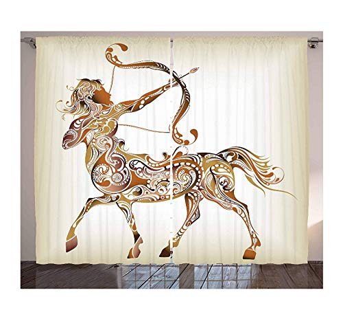 Aymsm Zodiac Sagittarius Curtains Abstract Pattern of Centaur Archer with Bow and Arrow Spirals Living Room Bedroom