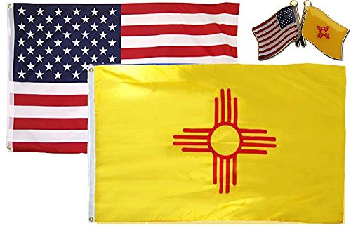 AES Wholesale Combo USA & State of New Mexico 2x3 2'x3' Flag & Lapel Pin Fade Resistant Double Stitched Premium Penant House Banner Grommets