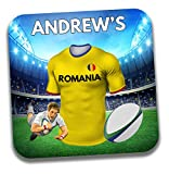 Dessous de verre / tapis de bière sur le thème du maillot de rugby de la Roumanie - Cadeau d'anniversaire