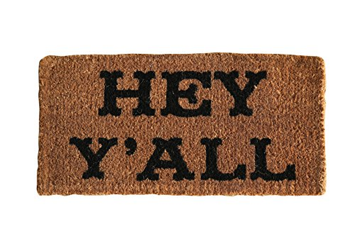 Creative Co-op Hey Y'all Natural Coir Doormat