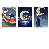 漫画の動物海の上の月プリント絵画キャンバス家の装飾壁アートモジュラー画像水彩Fキッズルーム20x30cm-3個フレームレス