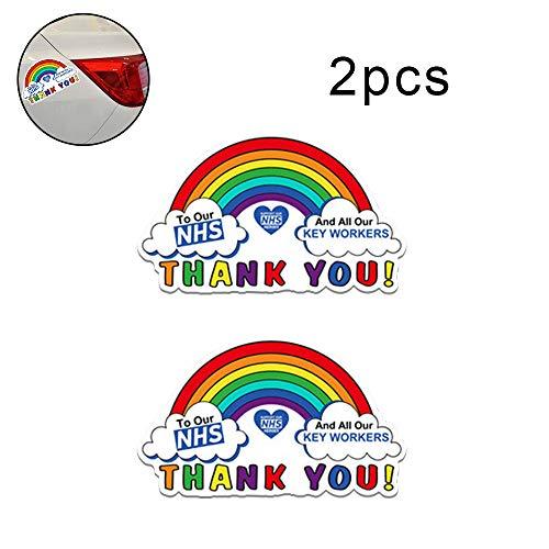 Joeesun Etiquetas Engomadas del Coche Decoración Trabajadores Clave - Colores del Arco Iris Autoadhesivo NHS Gracias PVC Impermeable Fuera De La Puerta De Windows 15 * 8.9cm/Color