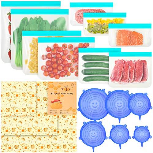 SOLEDI Juego De Preservación de Alimentos de 18 Piezas Bolsas de PevaX9pcs, Funda de Silicona x6pcs, Tela de Cera de Abejas x3pcs (Grande, Mediana y Pequeña), Un Clip Blanco