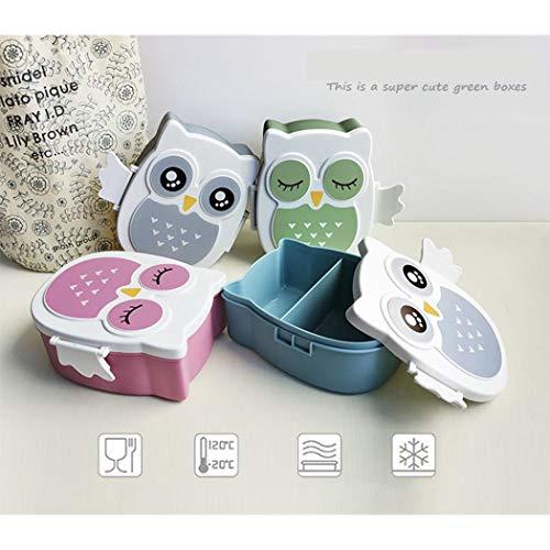 Yukio HomeFun-Brotdose im Eule-Form Vesperdose mit Trennwand Lunchbox Mittagessen für Kinder Mädchen Junge, ca. 17 * 14.7 * 7.5cm