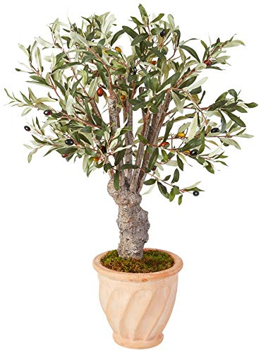 Nearly Natural Olive Artificial Tree in Terracotta Planter, 3'