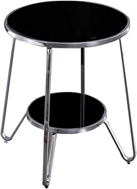 Iron Side Table Round Table - Marble Metal Modern Phnom Penh Coffee Table Bedside Table Multifunction - 2 Layer Metal Bracket