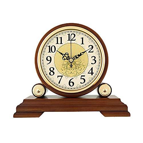 GANE Reloj de Madera Maciza Europeo Reloj de Sala de Estar Reloj Creativo Reloj Retro Grande Reloj de Mesa silencioso Reloj de Cuarzo Americano Adornos 22.5 * 19.5cm (Sin batería)
