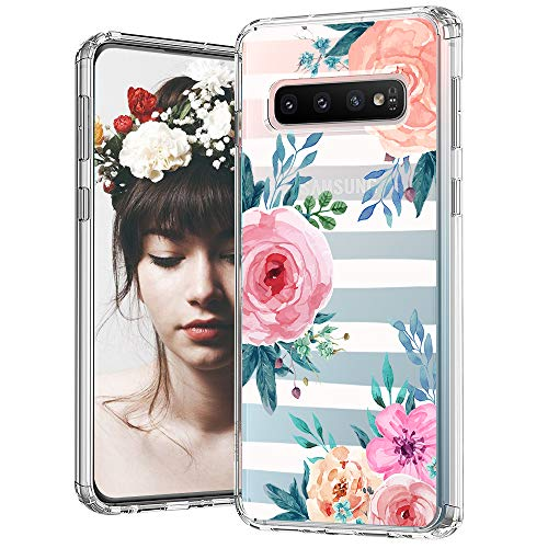 MOSNOVO Galaxy S10 Case, Stripe Floral Flower Pattern Clear Design Printed Transparent Plastic Back Hard Case with TPU Bumper Protective Case Cover for Samsung Galaxy S10