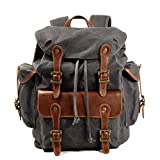 Waxed Canvas Leather Backpack for Men, Military Tactical Shoulder Rucksack for Travel School Bag (M85_Grey)