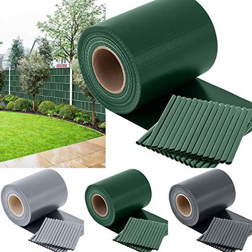 TOSANEO PVC Sichtschutzstreifen Sichtschutz Windschutz Zaunblende für Doppelstabmatten-Zaun Gartenzaun inkl. 30 Clips Rolle 35m x 19cm 450 g/m² Grün