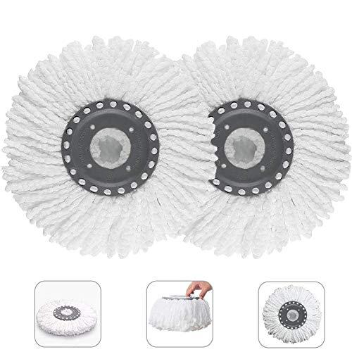 WENTS Wischmopp Ersatzkopf 2 Stück Mop Ersatzköpfe Ersatzkopf Disc Mop aus saugfähiger Microfaser, mit hoher Wasser und Schmutzaufnahme(Weiß)