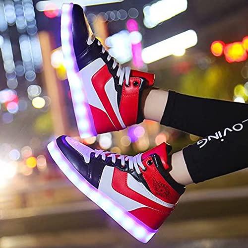 Gettop Luminosas LED Zapatos-Ligero Transpirable Alta Zapatos Zapatillas con Suela Luzbambas Luminosas-Unisex 7 Colores USB Carga Flash Deporte de Zapatillas con Luces(33-44) (Color : Red, Size : 36)