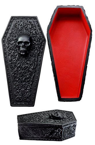 Ebros Day of The Dead Gothic Baroque Floral Skull Coffin Decorative...