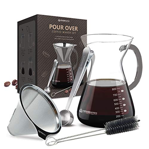 Pour Over Coffee Maker Set - 34 oz Glass Carafe, Stainless Steel Filter with Coffee Scoop and Cleaning Brush