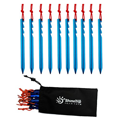 """nuzamas–Juego de estacas para tienda de (10) 7\""""(18cm)-ultraligero y Heavy Duty 7001aluminio–3Guy puntos–azul con bolsa de almacenamiento"""
