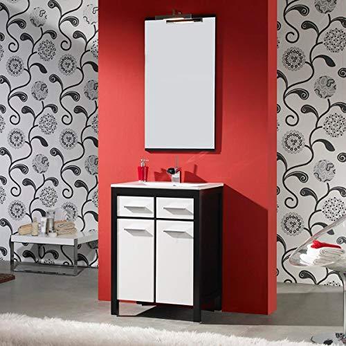 Artema Badkamermeubel met wastafel en spiegel met licht (60 cm) wit en zwart (2 deuren en 2 laden)