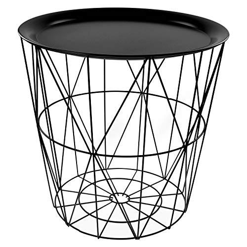 Bijzettafel/mand met afdekplaat, van geometrisch geplaatste zwarte metaaldraadstaven, rond, ook ideaal als nachtkastje