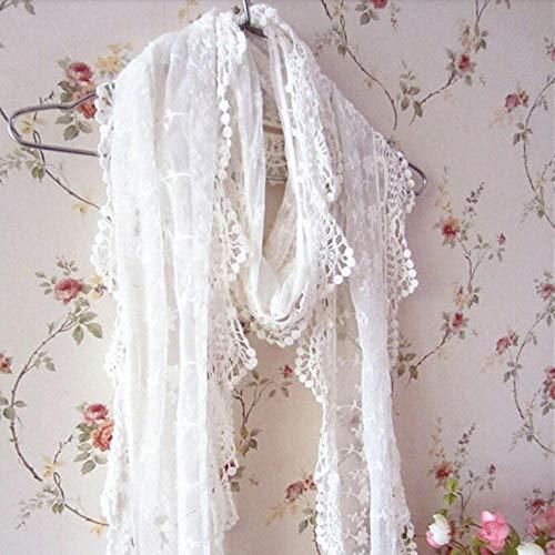 Qingsb Moda Donna Sciarpa Lunga da Donna Ricamo Floreale Maglia all'Uncinetto Scialle Sciarpa Scialle, Bianco, Taglia Unica