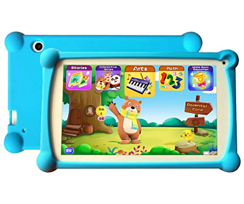Kids Tablet 7 inch Android 9.0 Kids Tablets Toddler Tablet Kids Educational Tablet with WiFi Childrens Tablet 1GB + 8GB Parental Control, Google Play Store-Blue
