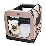 Veehoo Folding Soft Dog Crate, 3-Door Pet Kennel for Crate-Training Dogs, 5 x Heavy-Weight Mesh Screen, 1200D Oxford Fabric, Indoor & Outdoor Use, 20', Khaki