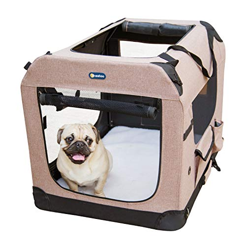 Veehoo Folding Soft Dog Crate, 3-Door Pet Kennel for Crate-Training Dogs, 5 x Heavy-Weight Mesh Screen, 600D Cationic Oxford Fabric, Indoor & Outdoor Use, 24', Beige Coffee