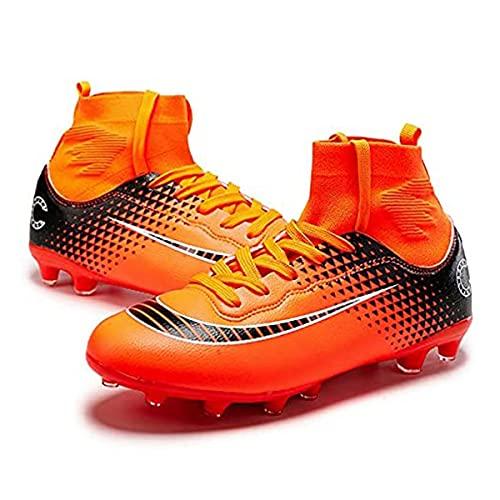 Zapatillas de fútbol para hombre, con punta larga, para deportes de interior, para correr, caminar, botas antideslizantes (talla 44, color: C-naranja)