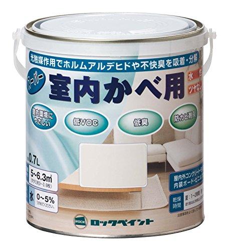 ロックペイント 水性ツヤ消し塗料 スーパー室内かべ用 アイボリー 0.7L H31-0648-03