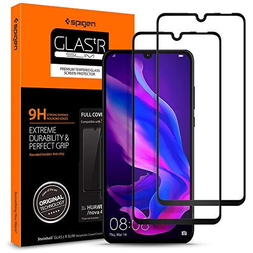 Spigen, 2Pack, Protector de Pantalla Huawei P30 Lite, [Caso amistoso], 3D Cobertura Completa, Anti-Burbuja, Anti-Scratch, Cristal Templado Premium para Huawei P30 Lite (L39GL25749)