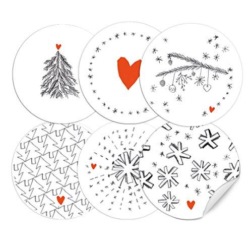 24 Weihnachtsdeko-Aufkleber Grau Weiß Rot im Handlettering Stil, 6 Motive, runde selbstklebende Sticker gemischt, MATTE Papieraufkleber für selbst gebastelte Adventskalender und Weihnachtsgeschenke