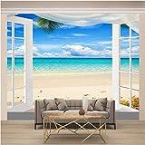 fotomural Paisaje de playa fuera de la ventana Fotomurales Cartel De La Pared hogar Póster Antecedentes Salón Dormitorio Decoración-140X100cm