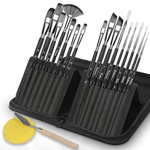 VIKEWE Acrylic Paint Brushes Set - 16 PCS Artist Paint Brushes with Carrying Case Oil Painting Knife and Sponge, Suitable for Oil, Acrylic, Watercolor and Gouache Painting, Perfect for Adults Kids