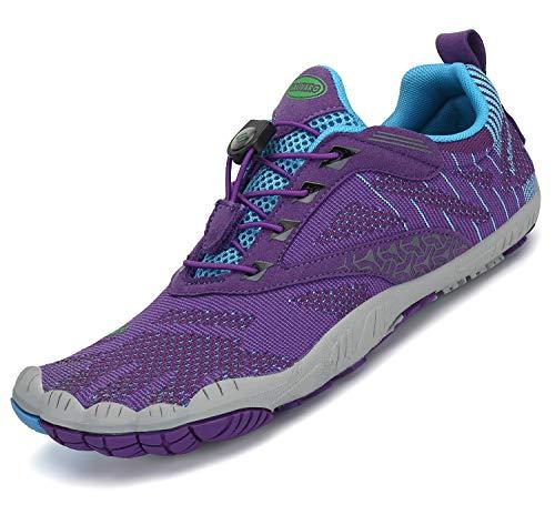 Pastaza Barfußschuhe Damen Minimalistische und Barfuß Traillaufschuhe Outdoor Fitnessschuhe Leicht Wanderschuhe,055 Violett,38