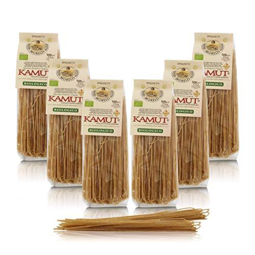 Antico Pastificio Morelli 1860 Srl Spaghetti Integrali di Kamut, Pasta Ai Cereali, 6 Confezioni da 500 Grammi