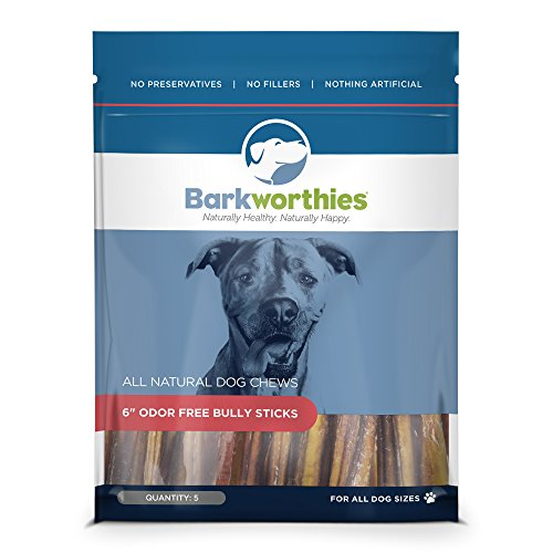 Barkworthies Odor-Free Bully Stick Treat, 6', (Pack Of 5)
