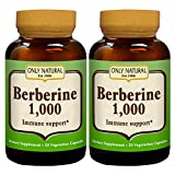 Only Natural Anti-Oxidant Veggie Capsules, Berberine 1000, 50 Count (Pack of 2)