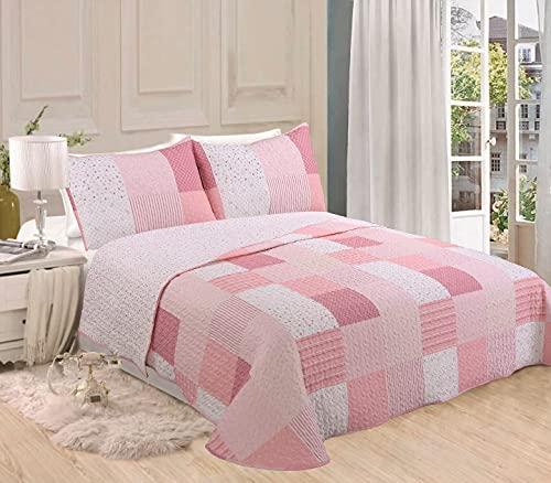 DOMAINET - Colcha Bouti Infantil Reversible Patch - Color: Rosa (Cama 90cm + cojín 40x60cm)