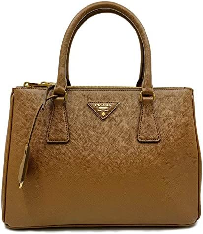 Prada 1BA863 F0401 Small Saffiano Lux Cannella Brown Double Zip Leather Handbag product image