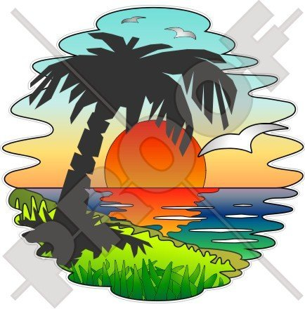 TROPICAL SUNSET Exotic Holidays, Palm Tree 140mm (5,5') Vinyl Bumper Sticker, Decal