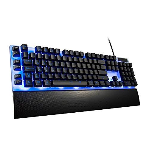 TOPELEK Wired Gaming-Tastatur Deutsch Layout QWERTZ mit 7 Einstellbare Hintergrundbeleuchtung 26-Taste Anti-Ghosting, Programmierbar und 5 Makrotasten