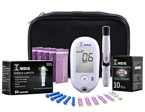 Bruno MD6 Blood Ketone & Glucose Monitoring System | Track Your Ketones & Ketogenic Diet Progress | Ketosis Test Kit with Lancing Device, 10 Keto Strips + 50 Lancets