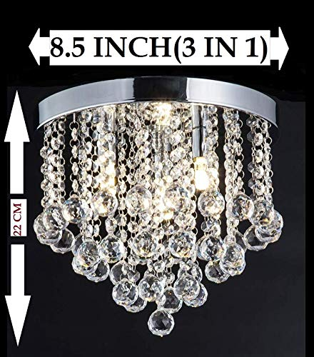 CRYSTA WORLD Made in India Chandelier Luxury Light Lamp Round Crystal Rain Drop Pendant Light Fixture for Living Room Bedroom.(3 in 1)