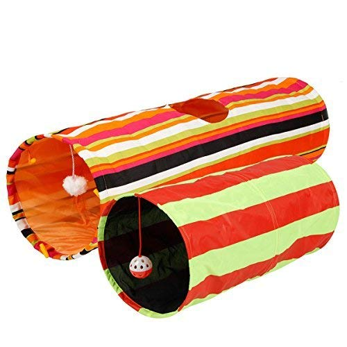 Pet Magasin Collapsible Cat Tunnel Toys (2 Pack)  Interactive Pet Tubes with Fun Balls and Crinkle...