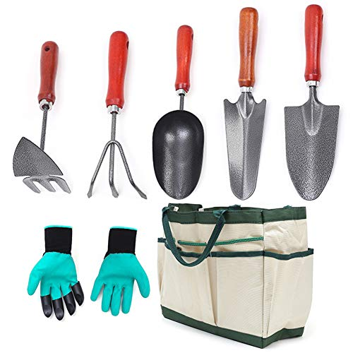ChengHao 7PCS Gardening Hand Tool Set-Comfortable Gardening Tool Set, Including Narrow Shovel, Wide Shovel, Soil Spoon, Three-Claw rake, Pointed-Nosed Hoe, Tool Bag, Gloves(wh000006)