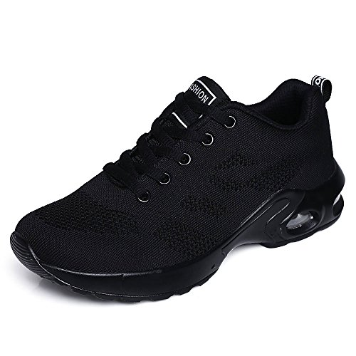 ZPAWDH Donna Basse Basket Scarpe da Ginnastica Corsa Sportive Fitness Running Sneakers(41EU,all Black)