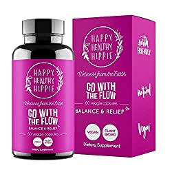 MENOPAUSE and PMS RELIEF - GO WITH THE FLOW is a vegan herbal supplement designed to balance out your hormones and give you relief from perimenopause, menopause symptoms & menstrual pain. HORMONE BALANCE - GO WITH THE FLOW provides relief from uncomf...