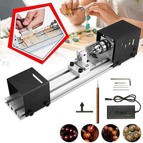 Drechselbank Holzdrehbank Drechselmaschine Drechsel, Mini Drehmaschine Perlen Polierer Maschine Holzbearbeitung Handwerk DIY Drehwerkzeug Set, DC 24V 80W