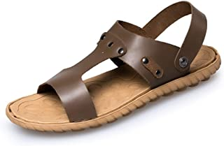 Sumuzhe Stylish and Comfortable Men's Sandals T-Strap Ankle Strap Slippers Slip on Style Genuine Leather Beach Sport Leisure Fashion Shoes (Color : Khaki, Size : 5 UK)