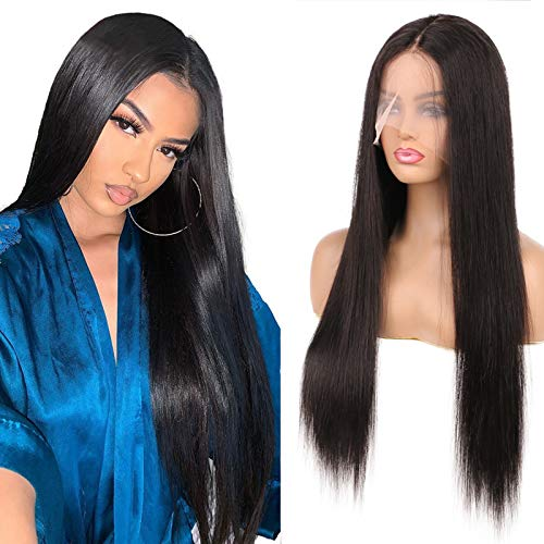 DaiMer 24 Inch T Part Wig for Balck Women Straight Human Hair Wigs T Part Wigs Glueless Middle Part Front Lace Wig 150% Density Pre Plucked with Baby Hair (Natural Color,13x5x0.5 Deep Part)